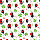 Ladybugs and clover — Stok Vektör