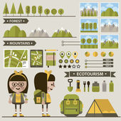 Set of ecotourism images . — ストックベクタ