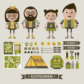Set of ecotourism images . — Stok Vektör