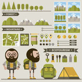 Set of ecotourism images . — Vettoriale Stock