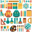 A set of pictures on the school theme. Flat design, vector. — Stock Vector #51188741