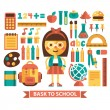 Set of icons and characters on a school theme. Flat design. Vector. — Stock Vector #51188743