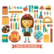 Set of icons and characters on a school theme. Flat design. Vector. — Stock Vector #51188751