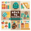 A set of pictures on the school theme. Flat design, vector. — Stock Vector #51188845