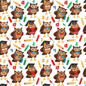 Seamless pattern with owls image. — Stock Vector