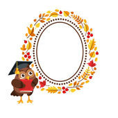 Character owl with frame of autumn leaves. — Stock Vector
