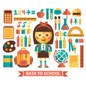 Set of icons and characters on a school theme. Flat design. Vector. — Stock Vector