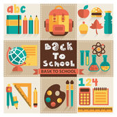 A set of pictures on the school theme. Flat design, vector. — Stock Vector