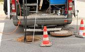 Sewer rehabilitation, inspektion — Stock Photo