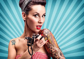 Pin-Up girl with tattoos — Foto Stock