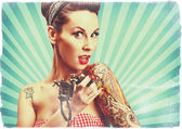 Pin-Up girl with tattoos, retro style imagery — Stock Photo
