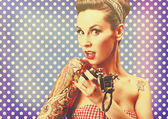 Pin-Up girl with tattoos — Foto de Stock