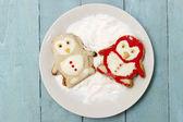 Penguin shaped homemade cookies — Stock Photo
