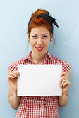 Pin-Up Girl holding copy space card — Foto de Stock