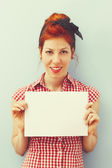 Pin-Up Girl with blank card - Retro — Foto de Stock