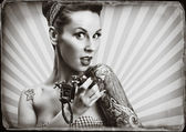 Pin-Up girl with tattoos - Black and white retro style imagery — Stock Photo