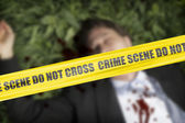 Yellow crime scene cordo — Stock Photo