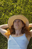 Lying in the grass — Stock Photo