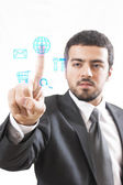 Touch Screen business man — Stock Photo