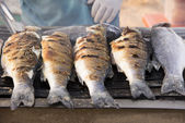 Sea bass barbeque — Stock Photo