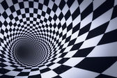 3d checkered tunnel — Stock Photo
