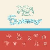 Fondo de verano doodle — Vector de stock