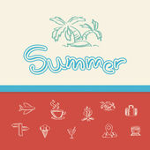Summer doodle background — Stok Vektör