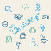 Summer doodle background — Vector de stock