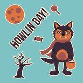 Halloween zestaw - wilkołak — Wektor stockowy