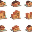Retro colored 3d buildings icons — Stock Vector #42462419