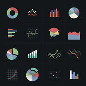 Flat colorful graph icons — Stock Vector