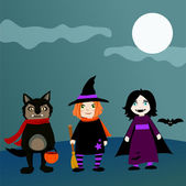 Trick-or-treating kids in costumes — Stock Vector