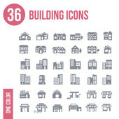 36 building icons set - — Stock Vector