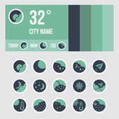 Weather icon set and widget layout — Stock Vector