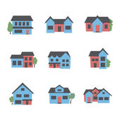 Buildings icon set — Stock Vector