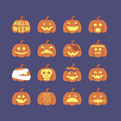 Halloween pumpkin icon set — Stock vektor