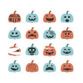 Halloween pumpkin icon set — Stock Vector
