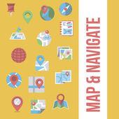 Map & navigation icon set — Stock Vector