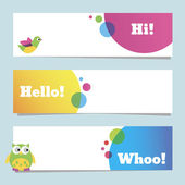 Colorful banners with funny birds. — Stok Vektör