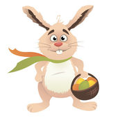 Easter Bunny holding basket — Stock Vector