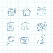 Sketchy media icons — Stock Vector