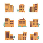 Commercial building icons — Stock Vector