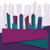 Retro city background — Vector de stock