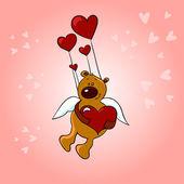 Ilustración del oso de peluche en el amor retro — Vector de stock