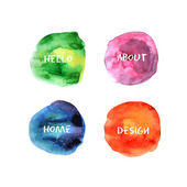 Watercolor set icons-01 — Stock Vector