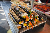 Kimbap street food in Busan Korea — 图库照片