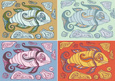 Abstract fishes in decorative style — Stockvector