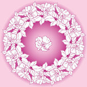 Circle of flowers of wild rose — Stock Vector