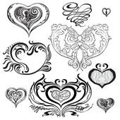Set of decorative hearts in different styles. — Stok Vektör