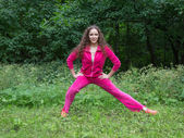 Young woman practicing fitness — Stock fotografie